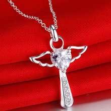 Buy 2016 White heart rhinestone angel necklace women Fashion AAA zircons silver Statement choker necklace female bradil fine jewelry for $2.60 in AliExpress store