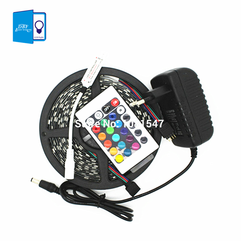 [DBF] 3528 RGB LED Strip Flexible Light Lamp 5M 300 Led SMD IR Remote Controller DC12V 2A Power Adapter Free Shipping Blue White(China (Mainland))