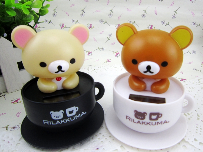 2016 Cute Cartoon Lovely Dolls Coffee cup Bear ABS + Resin With A Swing Head Car Styling Mini Solar Powered Shaking Head Toys(China (Mainland))