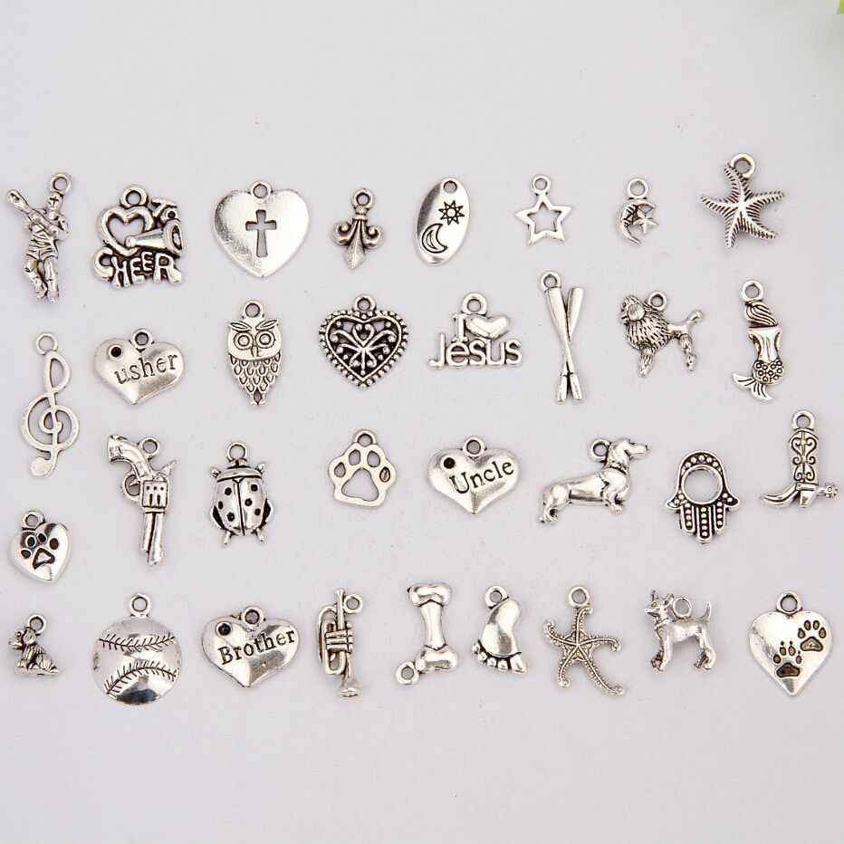 Hot Sell 200Pcs Retro Silver Beetle&Dog&Owl&Mermaid&Heart Mix Charms Pendant Accessories Fashion Jewelry Wholesale DIY F129(China (Mainland))