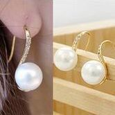 wholesale 65pair gold plated alloy Trendy party rhinestone Handle Hook shape Letter S shape pearl Stud earrings for women 2015<br><br>Aliexpress