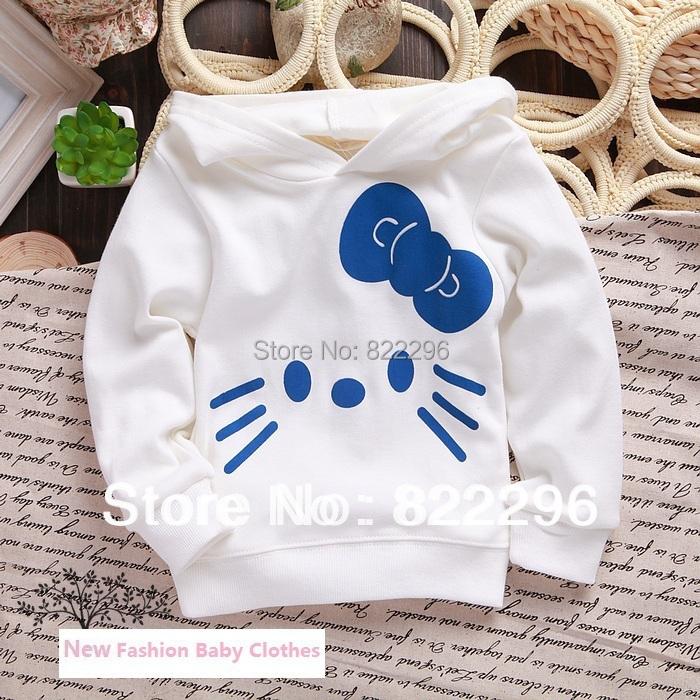 0-2T New 2015 fashion baby hooddies sweatshirts baby girls hello kitty long-sleeved hoodies sweatshirts(China (Mainland))