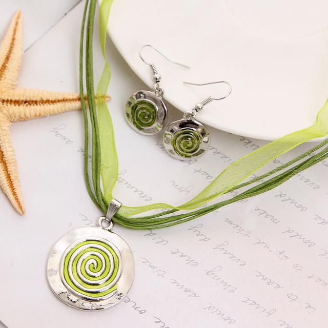 Мода комплект ювелирных изделий зеленый веревка Chian круглый подвески и ожерелья ...