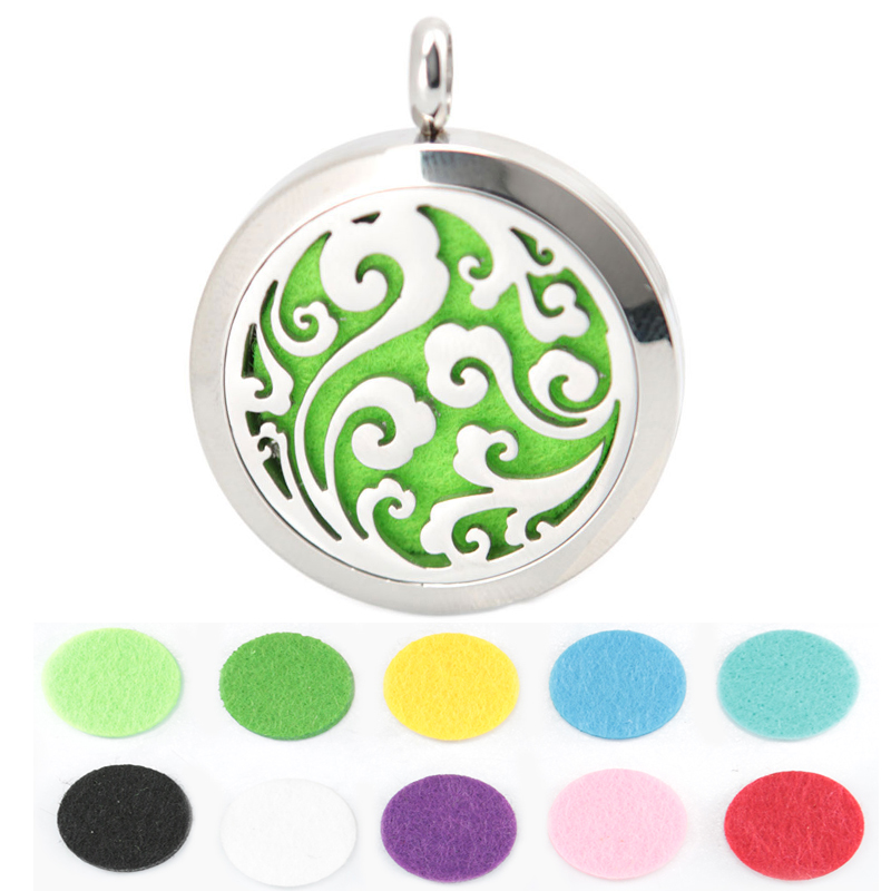 10pcs Round Silver Cloud Stainless Steel Premium Aromatherapy Essential Oil Diffuser Necklace With Free chain and Pads(China (Mainland))