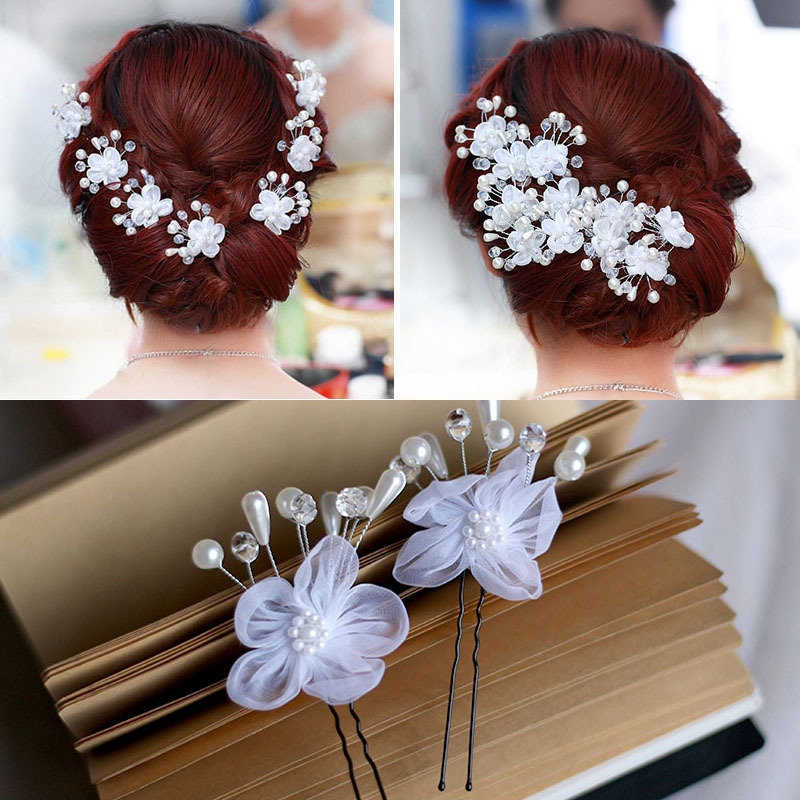 brand new bridal hair ornaments flower hairpins wedding accessories white romantic 2015 hot selling decoration free shipping(China (Mainland))