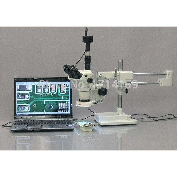 AmScope Supplies 2X-45X Stereo Boom Microscope 80 LED Light + 3MP Camera(China (Mainland))