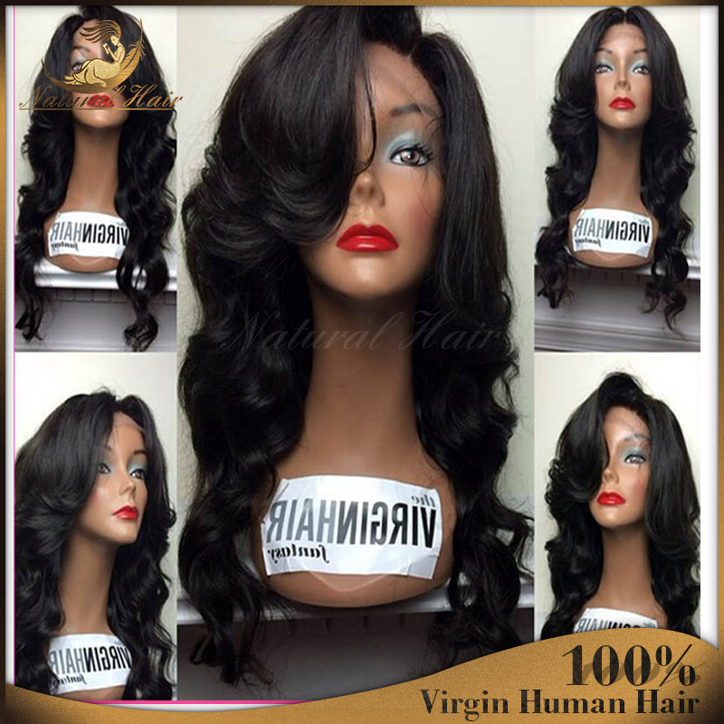 Top 7A Grade Best Full density Virgin BrazilianThick Human Hair Wig Full Lace Wig Cheap Human Hair Lace Front Wig Glueless Wig(China (Mainland))