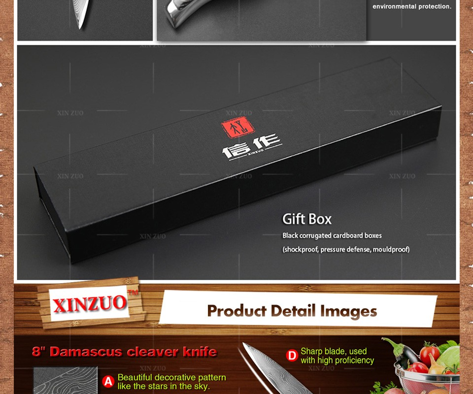 """Buy XINZUO 8"""" inch cleaver knives 73 layers Japanese VG10 Damascus steel slicing/Carving knife wooden and steel handle FREE SHIPPING cheap"""