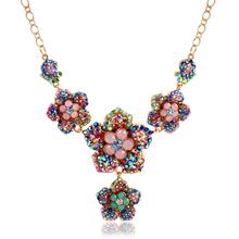 Fine Jewelry Fashion Flower Color Crystal Necklace Geometric Hollow out Design Link Chain Zircon Pendant Necklaces Women CS13