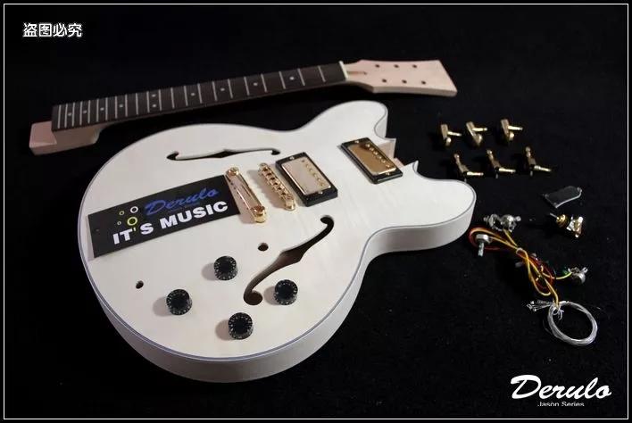 DIY Electric Guitar Kit Set-In Neck Hollowbody Flamed Maple Veneer MX026(China (Mainland))