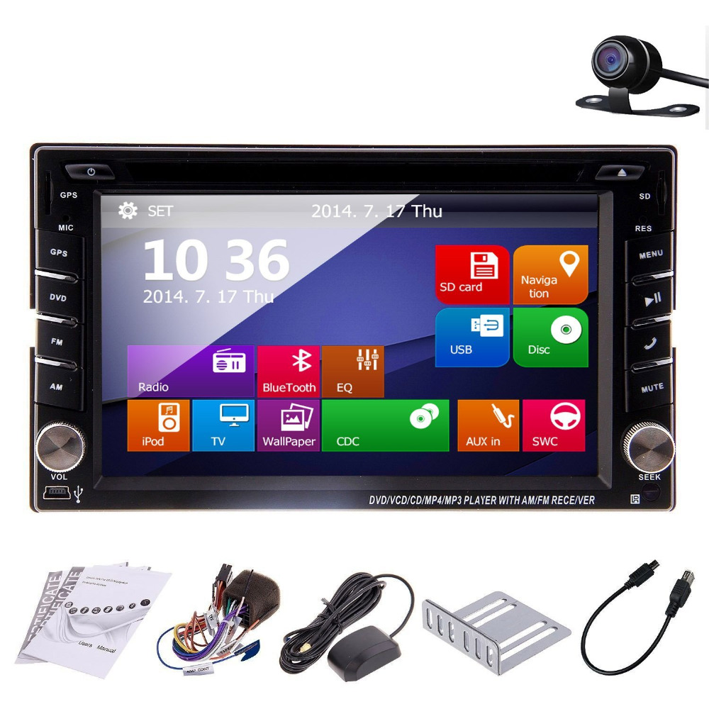 2016 New Model 6.2inch Double 2 DIN In Dash Car DVD Player LCD Monitor with DVD/CD/USB/SD/RDS Radio/BT/Stereo/Audio GPS(China (Mainland))