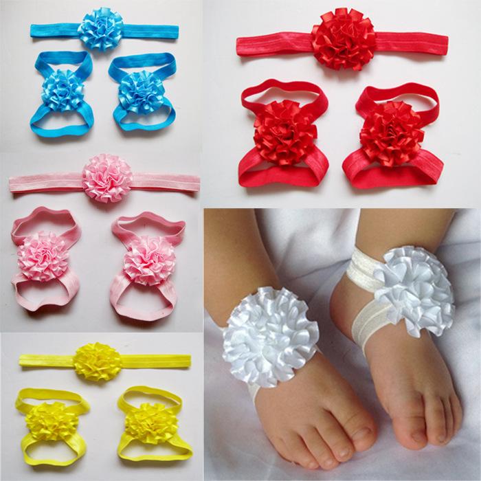 Reyail 13 color Baby satin flower Headband (Flower Headband+Baby Barefoot Sandals) Infant Elastic Headband(China (Mainland))