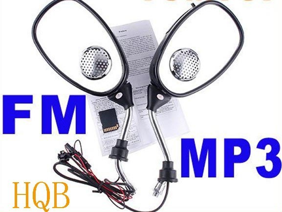 Electric Motorcycle Bike Rear view Mirror MP3 FM Radio Speaker,motor parts rearview,car view mirror,wholesale,free shipping