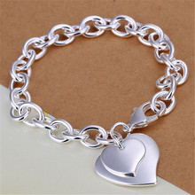 silver plated  Exquisite double heart brand bracelets new listings high quality fashion jewelry Christmas gifts(China (Mainland))