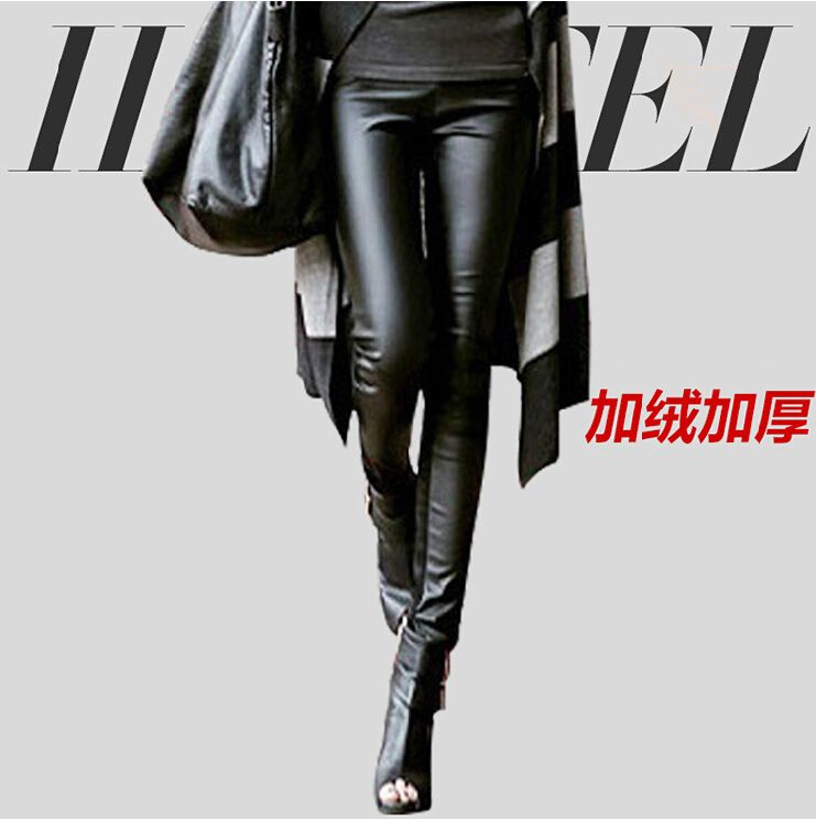 New winter pu leather pants female plus velvet thick outer wear tight leather warm pants big yards was thin(China (Mainland))