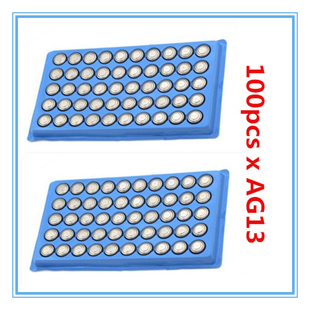 100PCS AG13 Button Cell Batteries AG 13 G13 LR44 A76 N ship by air mail