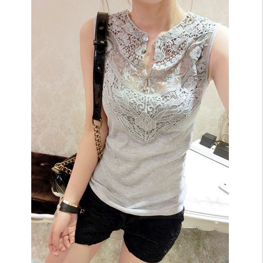 Hotsale!European and American 2014 Womens Summer Mesh Shell Sleeveless Vest Lace Crochet T-shirt Tops(China (Mainland))