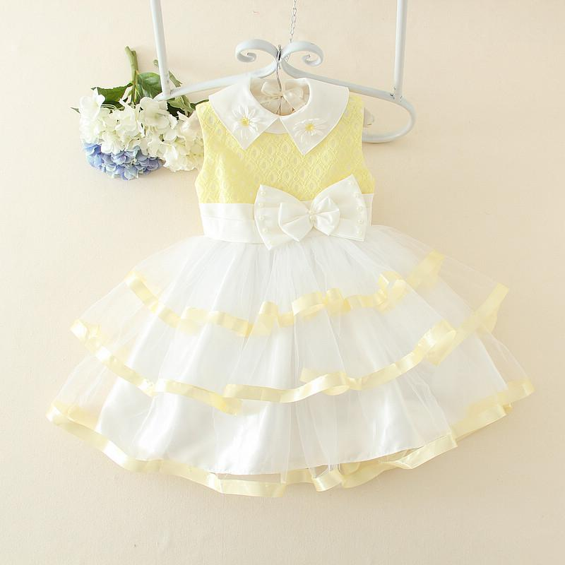 Yellow and white bow girl dress for birthday summer design formal kid clothes for 3 4 5 6 7 8 9 10 11 12 years old SKF154010<br><br>Aliexpress