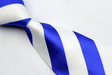 ST005 Blue White Stripes Fashion Jacquard Woven Silk Tie Gravata Casual Neckties For Man Business Wedding