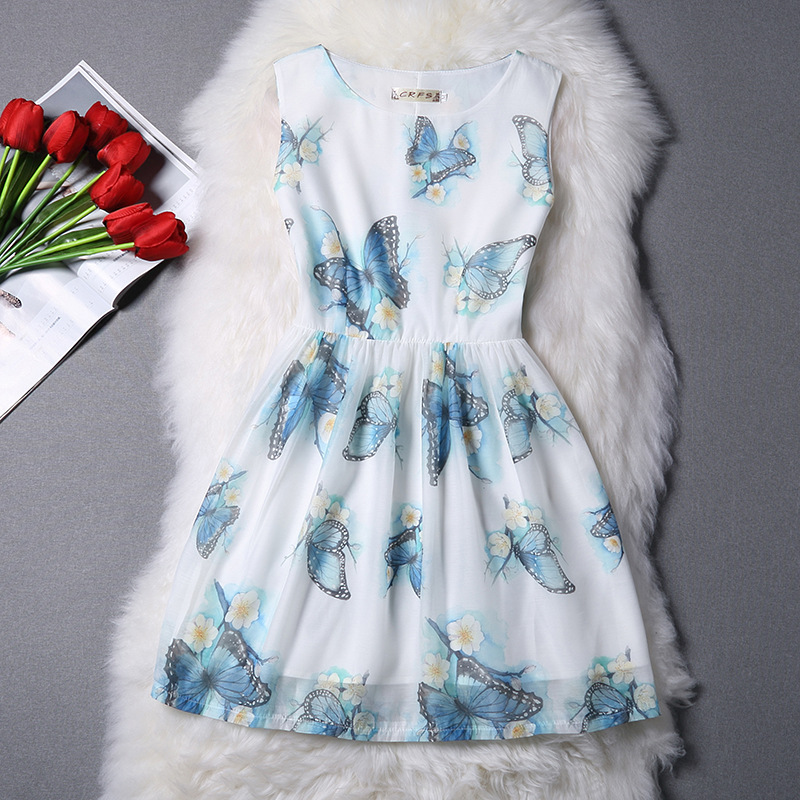 2016 Summer Dresses For Girl Chiffon Dress Butterfly Printed Organza Designer Formal Teenagers Party Dress Kids Clothes 10-20Y(China (Mainland))