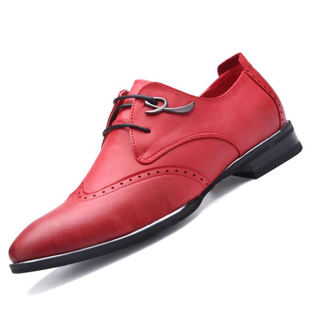 Тенденция мужчины акцентом оксфорды винтаж кат-аутов бизнес кожаные ботинки свободного ...