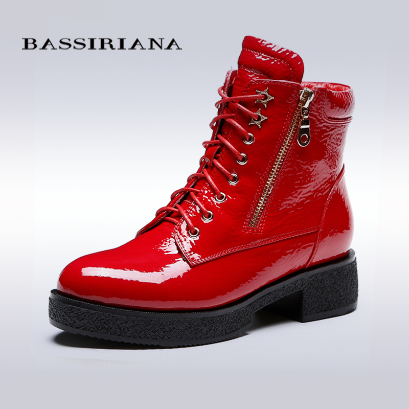 BASSIRIANA - shoes woman Full Grain Leather Black and Red colors Spring/Autumn flats boots Free shipping(China (Mainland))