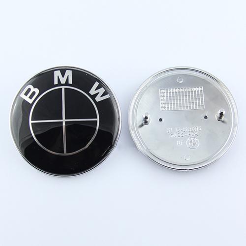 Free shipping ! 2pcs/lot all black 82mm+74mm standard front rear badge hood trunk logo car emblem E46 E39 E38 E90 E60(China (Mainland))