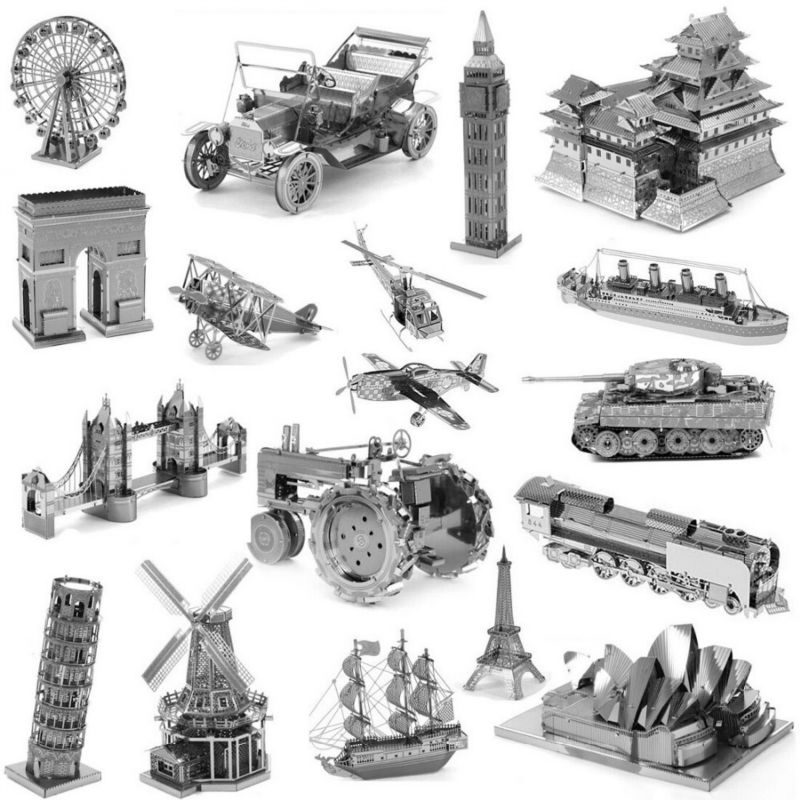 3D Metal Puzzles for children Model kids Toys For Children/Adult Cartoon Jigsaws Eiffel Tower Ford Car Tank Sky Wheel Titanic(China (Mainland))