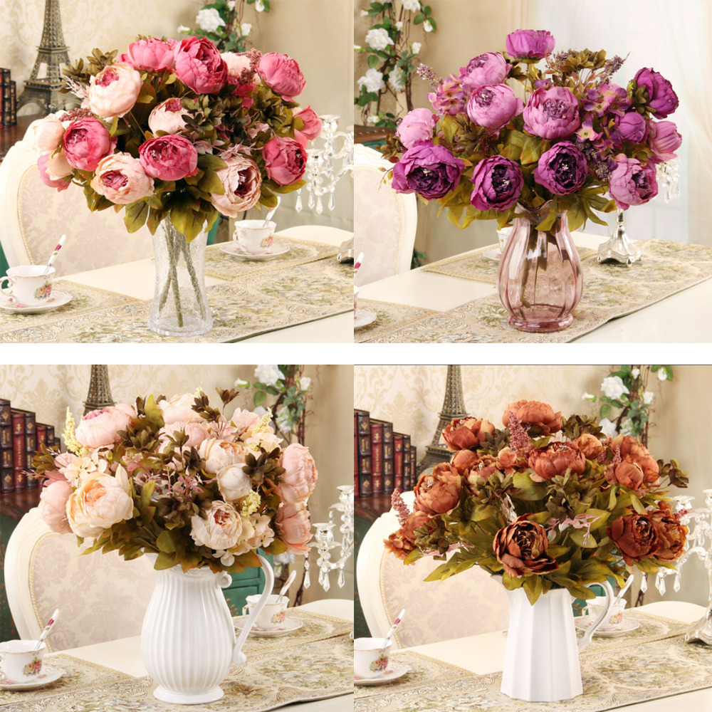 2015 new 1 hank decorative flowers artificial peony silk for Artificial flowers for wedding decoration