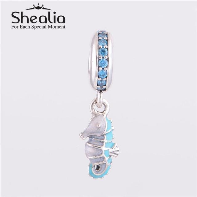 Стерлингового серебра 925 голубой циркон тропический морской конек мотаться подвески подвеска DIY изготовления ювелирных изделий подходит известный бренд DIY шарм браслеты
