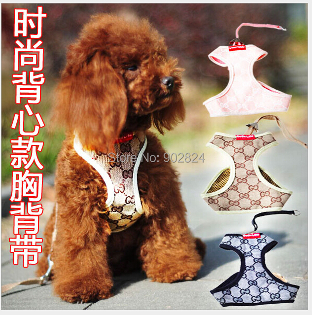 Pet leash 1pc Small Dog Collars Lead Leash Harness Vest Matching 3 Color C125-127 - Chang Trading Co., Ltd. store