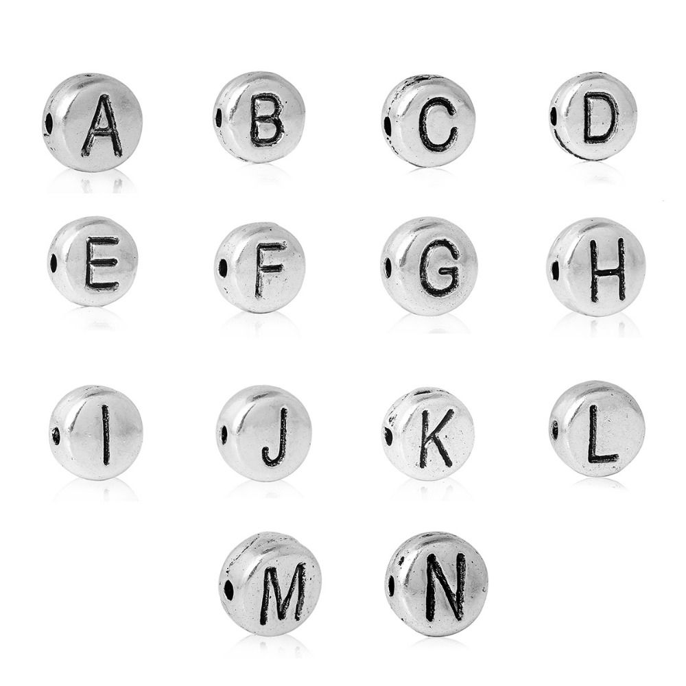 "A to N Letter Spacer Beads Flat Round Silver Tone Alphabet/Letter About 7mm(2/8"") Dia,Hole:Approx 1.2mm Free Shipping,100 PCs(China (Mainland))"