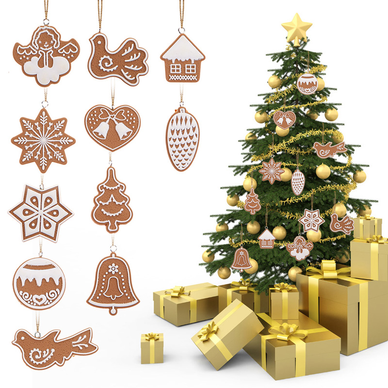 11Pcs Animal Snowflake Biscuits CHRISTMAS Hand Made Polymer Clay Christmas Tree Ornaments For Christmas Party B0165(China (Mainland))