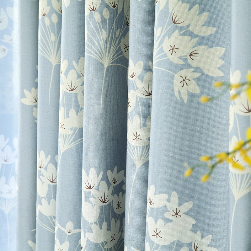 Custom curtains Korean countryside style livingroom bedroom full shading flowers cotton blue yellow linen window tulle curtain(China (Mainland))