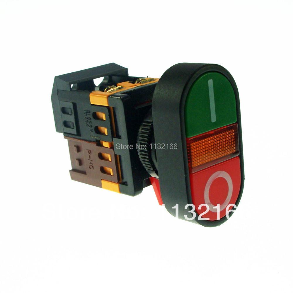LED Pilot Lamp 220VAC Start-Stop Double Pushbutton 1NO 1NC<br><br>Aliexpress