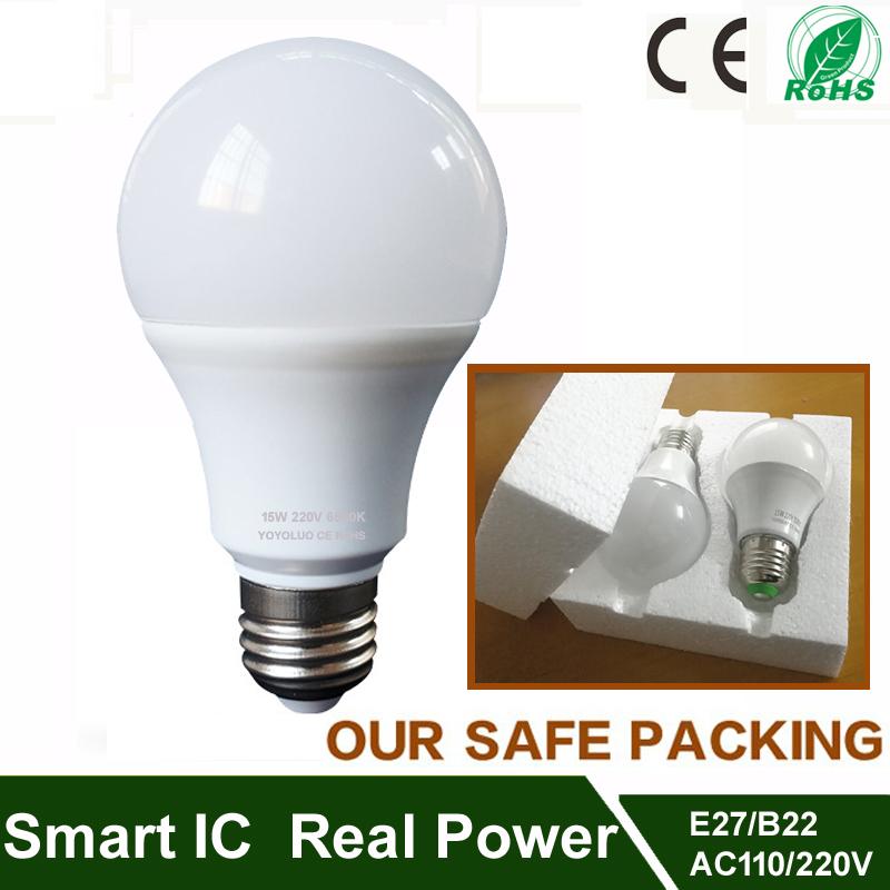 Real power led lamp 3w 5w 7w 9w 12w 15w led bulb B22 led e27 110v 220v 230V warm cold white led spotlight light Aluminum cooling(China (Mainland))