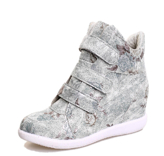 2016 Winter Korean Fashion Casual Shoes For Women Camo Print Height Increasing Lace Up High Top Wedge Canvas Shoes Woman fashion(China (Mainland))