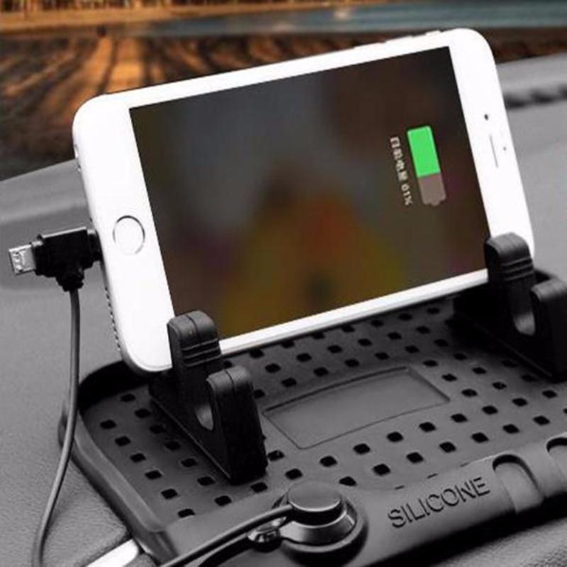 Universal Car Phone Holder Magnetic Silicone Anti-Slip Mat Car Navigation Mobile Phone Mount Stands Bracket Holder USB Charger