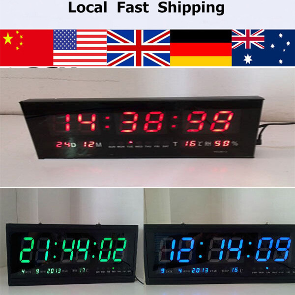 48cm Blue/Red/Green Large Square Home Decoration kitchen time Calendar Wall clock Desk Table Clock Temperature Relogio de Parede(China (Mainland))