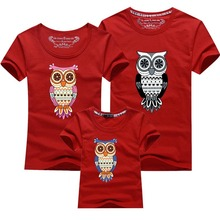 New fashion clothing Family Clothes owl pattern Print Mother Father Baby Children T Shirts Mother Son Outfits Men Women T shirt