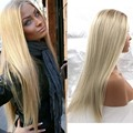 Full Synthetic Lace Front Wig Ombre Blonde Color Natural Synthetic Wigs Heat Resistant Fiber Hair 14