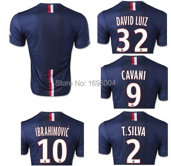 free shipping IBRAHIMOVIC jersey CAVANI T.SILVA DAVID LUIZ LUCAS jersey football Soccer jerseys football shirt polo shirt(China (Mainland))