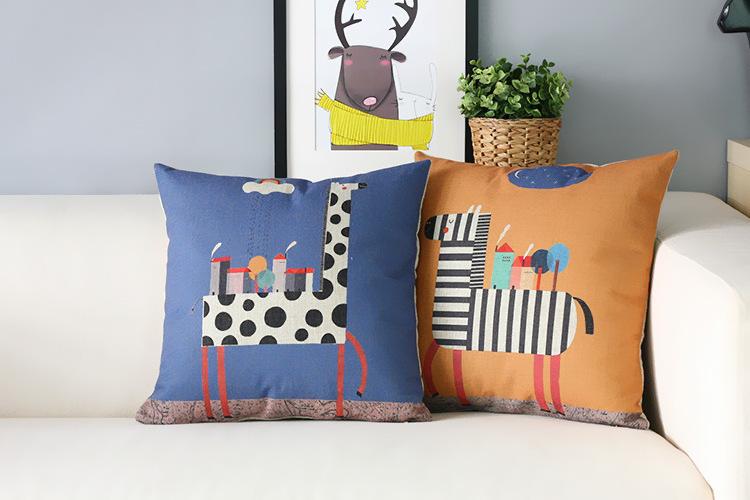 cartoon Pillow s Modern Zebra giraffe Pillow Cushion Children s room decorative pillows home decor sofa