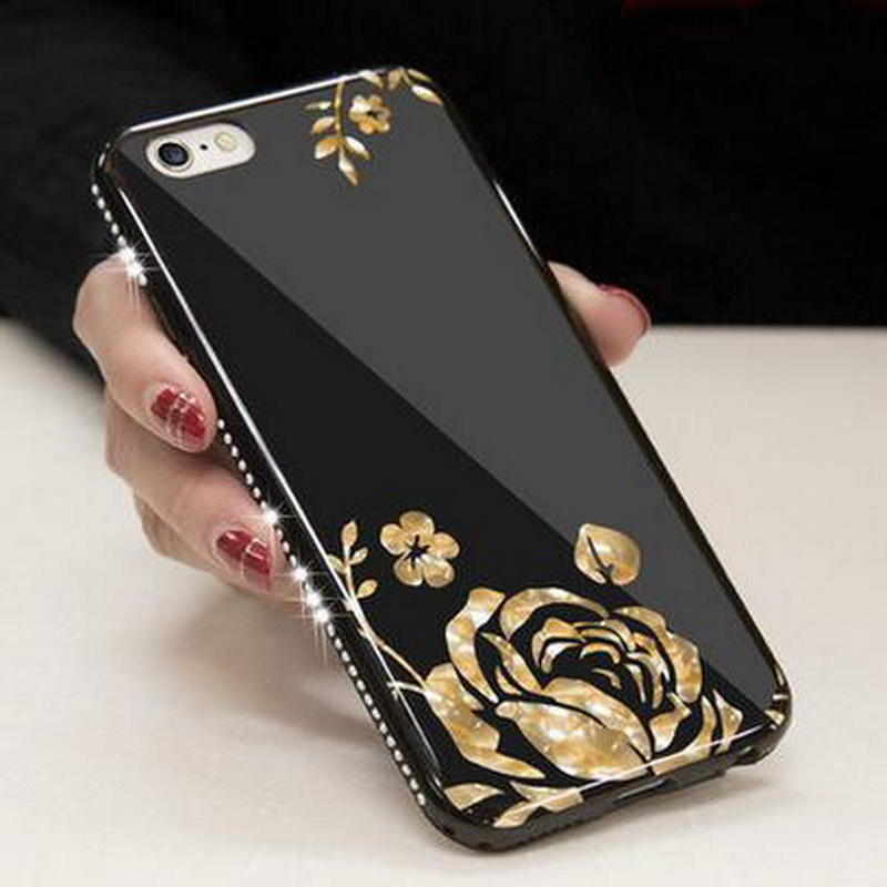 Case For Iphone 5s se Case Iphone 6s Case Plus Luxury Mirror Diamond Soft Phone Cover For Iphone 7 Plus Flower Pattern G(China (Mainland))