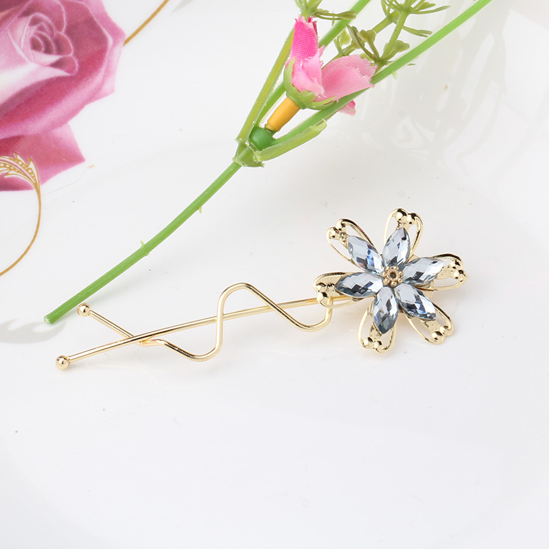 1PC New Wave Pattern Flower Rhinestones Hair Pin Spring Barrette Hairpins Wave Crooked Hair Clip Hair Accessories(China (Mainland))