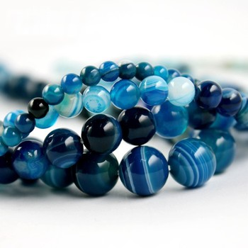 Free shipping high quantity AAA+ blue stripe Onyx agate Round Bead natural stone Beads 4mm 6mm 8mm 10mm A string
