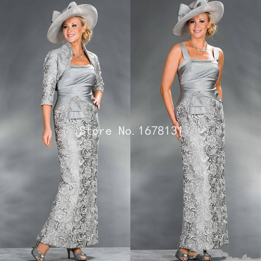 New silver grey lace sheath mother of the bride dresses for Silver dress for wedding