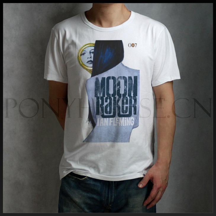 James Bond T-shirt cotton Lycra top 11091 moon river Fashion Brand t shirt men new DIY Style high quality(China (Mainland))