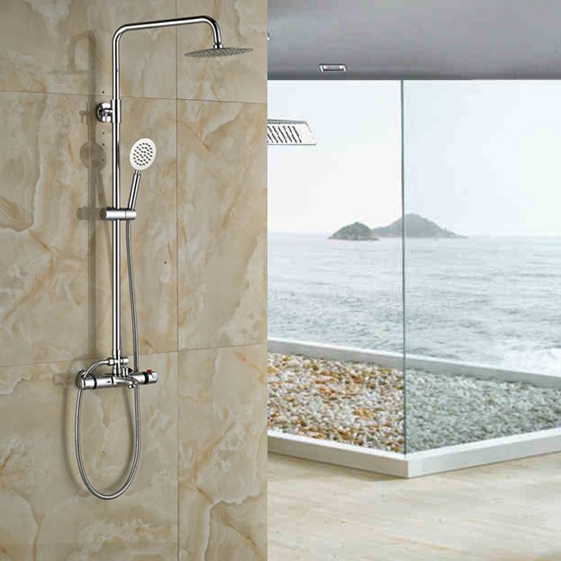 "Luxury Thermostatic Mixer Valve 8"" Ultrathin Rain Shower Head Bathroom Bath Shower Faucet Set Chrome Finished(China (Mainland))"