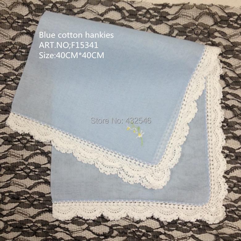 Home Textile European classical style1Blue cotton White crochet lace edges Handkerchief 40CM*40CM Best Embroidery Bride - BAIDAILI NAPKINS FOR SPECIAL OCCASIONS store
